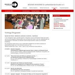 Berliner Akademie - Vortrags-Programm