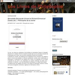Bernadette Bensaude-Vincent et Richard-Emmanuel Eastes (dir.) : Philosophie de la chimie