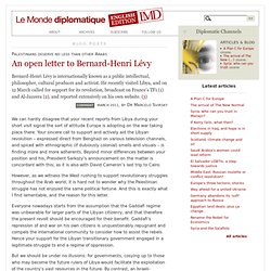 An open letter to Bernard-Henri Lévy