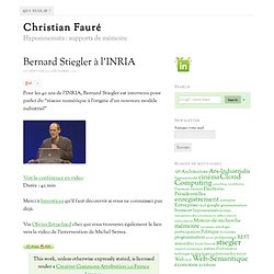 Bernard Stiegler à l'INRIA – Christian Fauré
