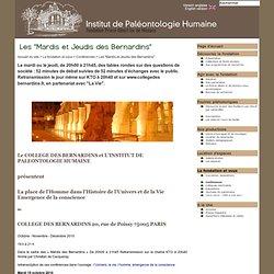 "Les ""Mardis et Jeudis des Bernardins"" - Institut de Paléontologie Humaine"