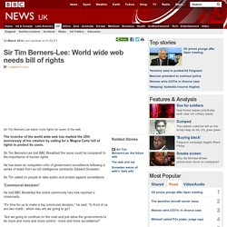 Sir Tim Berners-Lee: World wide web needs bill of rights