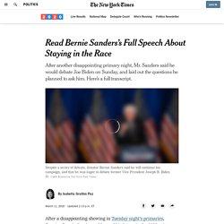 Read Bernie Sanders's Full Speech About Staying in the Race