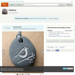 bird and berries beach pebble necklace by birdahoy