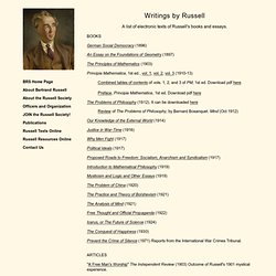 The Bertrand Russell Society - Russell Texts Online