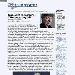 Jean-Michel Besnier : L'Homme simplifié