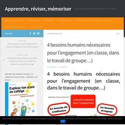 4 besoins humains nécessaires pour l'engagement (en classe, dans le travail de groupe...)