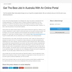Get The Best Job In Australia With An Online Portal