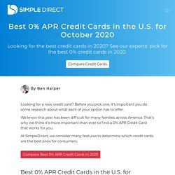 Best 0% APR Credit Cards in the U.S. for October 2020