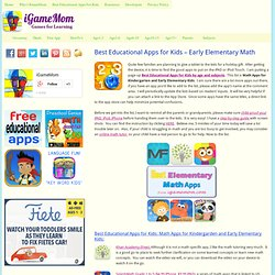 Best Educational Apps for Kids – Early Elementary Math iGameMom iGameMom