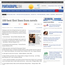 100 best first lines from novels