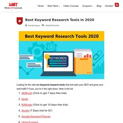 7 Best Keyword Research Tools in 2020 for SEO