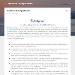 Best Media Training in Toronto