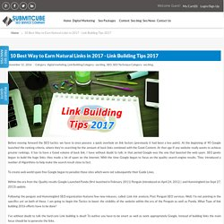 10 Best Way to Earn Natural Links in 2017 - Link Building