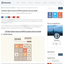 10 Best Open Source HTML5 games Source Code