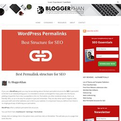Best Permalink structure for SEO