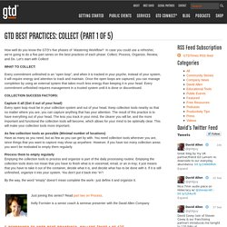 GTD Best Practices: Collect (Part 1 of 5)