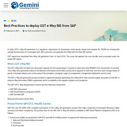 Best Practices to deploy GST e-Way Bill from SAP