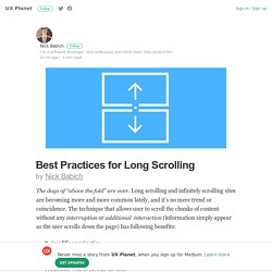 Best Practices for Long Scrolling – UX Planet