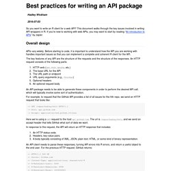 Best practices for writing an API package