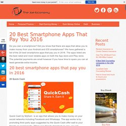 20 Best Smartphone Apps That Pay You 2016 - The Joe Economy