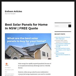 Best Solar Panels for Home In NSW