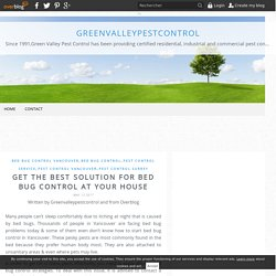 Get the best solution for bed bug control at your house - greenvalleypestcontrol