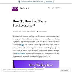 How To Buy Best Tarps For Businesses? – Canvas tarp