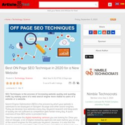 Best ON Page SEO Technique in 2020 for a New Website Article