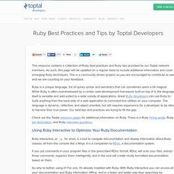 Best tips and practices from Ruby experts