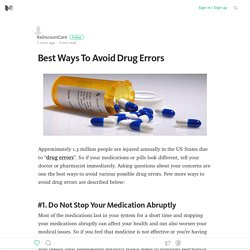 Best Ways To Avoid Drug Errors