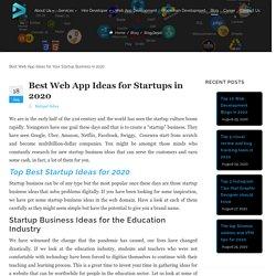 Best Web App Ideas for Startups in 2020