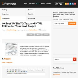 10 best WYSIWYG Text and HTML Editors for Your Next Project