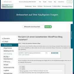Umzug eines bestehenden Wordpress-Blogs