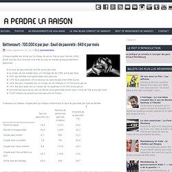 Bettencourt : 700.000 € par jour - Seuil de pauvreté : 949 € par mois