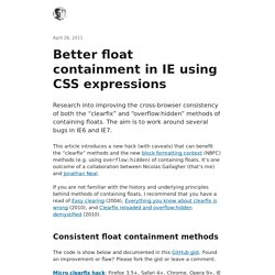 Better float containment in IE using CSS expressions