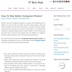 How To Take Better Instagram Photos? - Social
