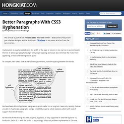 Better Paragraphs with CSS3 Hyphenation