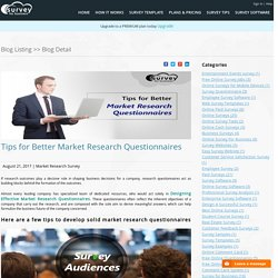 Tips for Better Market Research Questionnaires
