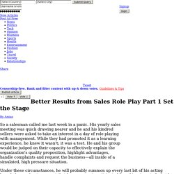 Better Results from Sales Role Play Part 1 Set the Stage