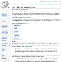 Betteridge's law of headlines