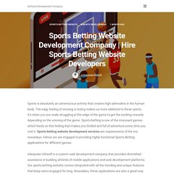 Hire Sports Betting Website Developers - Sports Betting Website