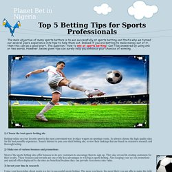 Top 5 Betting Tips for Sports Professionals