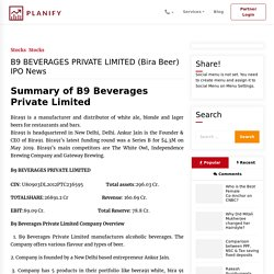 B9 Beverages Private Limited Bira Beer Ipo News