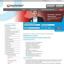 Bewerbung: Bewerben auf Englisch - Formulierungsbeispiele - Staufenbiel.ch - Jobs, Bewerbung, Gehalt