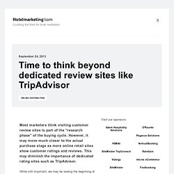 Time to think beyond dedicated review sites like TripAdvisor