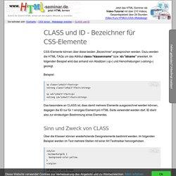 CLASS und ID - Bezeichner für CSS-Elemente - HTML lernen - HTML Kurs / Seminar