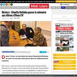 Béziers : Ginette Kolinka passe la mémoire aux élèves d'Henri IV