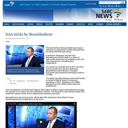 SAA sticks by Bezuidenhout:Tuesday 25 November 2014