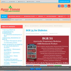BGR 34 for Diabetes - Ayur Times